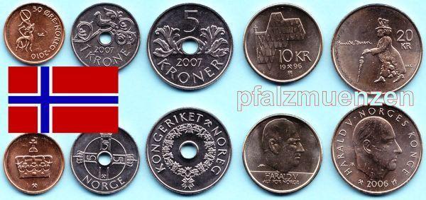 Norwegen 1996 2010 Neuer Satz Mit 5 Münzen 50 öre 20 Kronen Ibsen