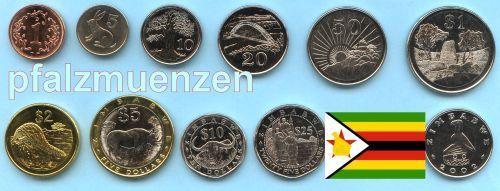 Simbabwe 1997 2008 Kursmünzensatz Nach Der Inflation Mit 10 Münzen