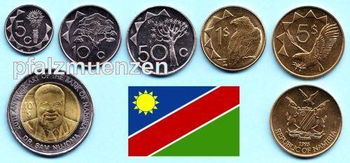 Namibia 1993 2010 Kompletter Kursmünzensatz Mit 6 Münzen