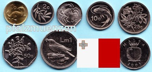 Malta 1995 2004 Kompletter Kursmünzensatz Vor Euro Mit 7 Münzen