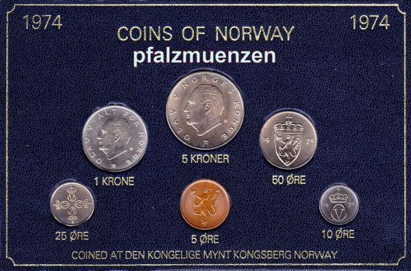 Norwegen 1974 Original Kursmünzensatz Mit 6 Münzen