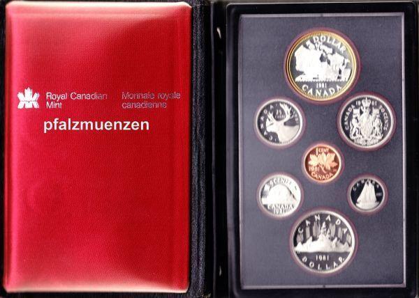 Kanada 1981 Original Kms Mit 7 Münzen Inkl Silber Polierte Platte