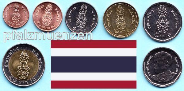 Thailand 2018 Neuer Kursmünzensatz König Vajiralongkorn Mit 6 Münzen