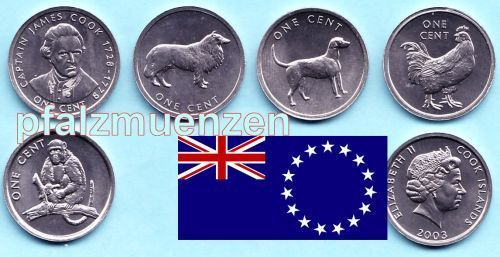 Cook-Islands 2003 5 x 1 Cent