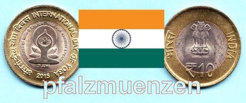 Indien 2015 10 Rupees Bimetall Internationaler Yoga-Tag