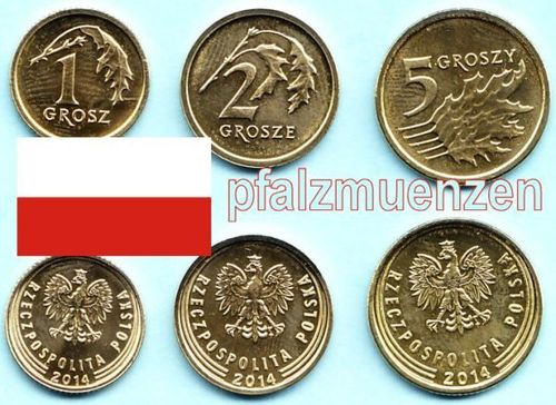 Polen 2014 1, 2 + 5 Groszy British Royal Mint