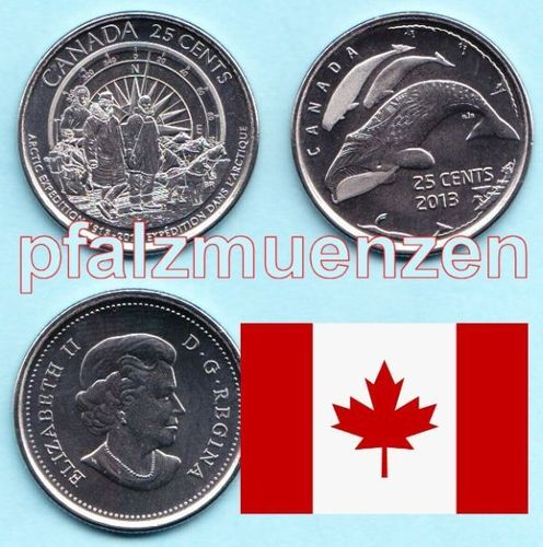 Kanada 2013 2 x 25 Cents 100 Jahre Arktisexpedition - normale Version