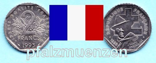 Frankreich 1993 2 Francs Jean Moulin/Widerstand