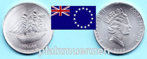 "Cook-Islands 2009 1 Dollar Schiffsmotiv ""Bounty"" 1 Unze Silber"