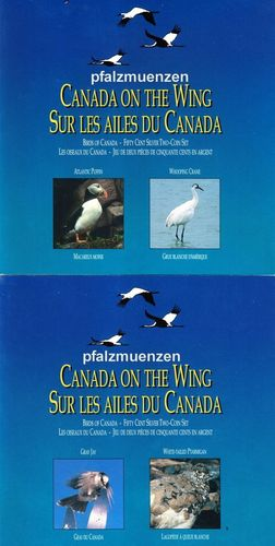 Kanada 1995 4 x 50 Cents Silber Vögel in 2 Original-Blistern