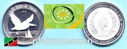 Eastern Caribbean States 2018 2 Dollar / St. Kitts and Navis - Pelikan 1 Unze Silber (999)