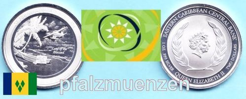 Eastern Caribbean States 2019 2 Dollar / Saint Vincent and the Grenadines - Wasserflugzeug 1 Unze Si